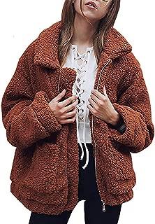 SKEPO 女式休闲外套长袖人造羊毛外套翻领拉链保暖夹克口袋冬季