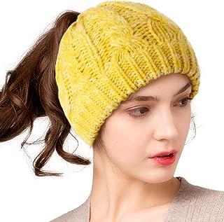 Beanie for Women Ponytail Hat Fleece Lining Warm Messy Bun Beanie Winter Hats for Women