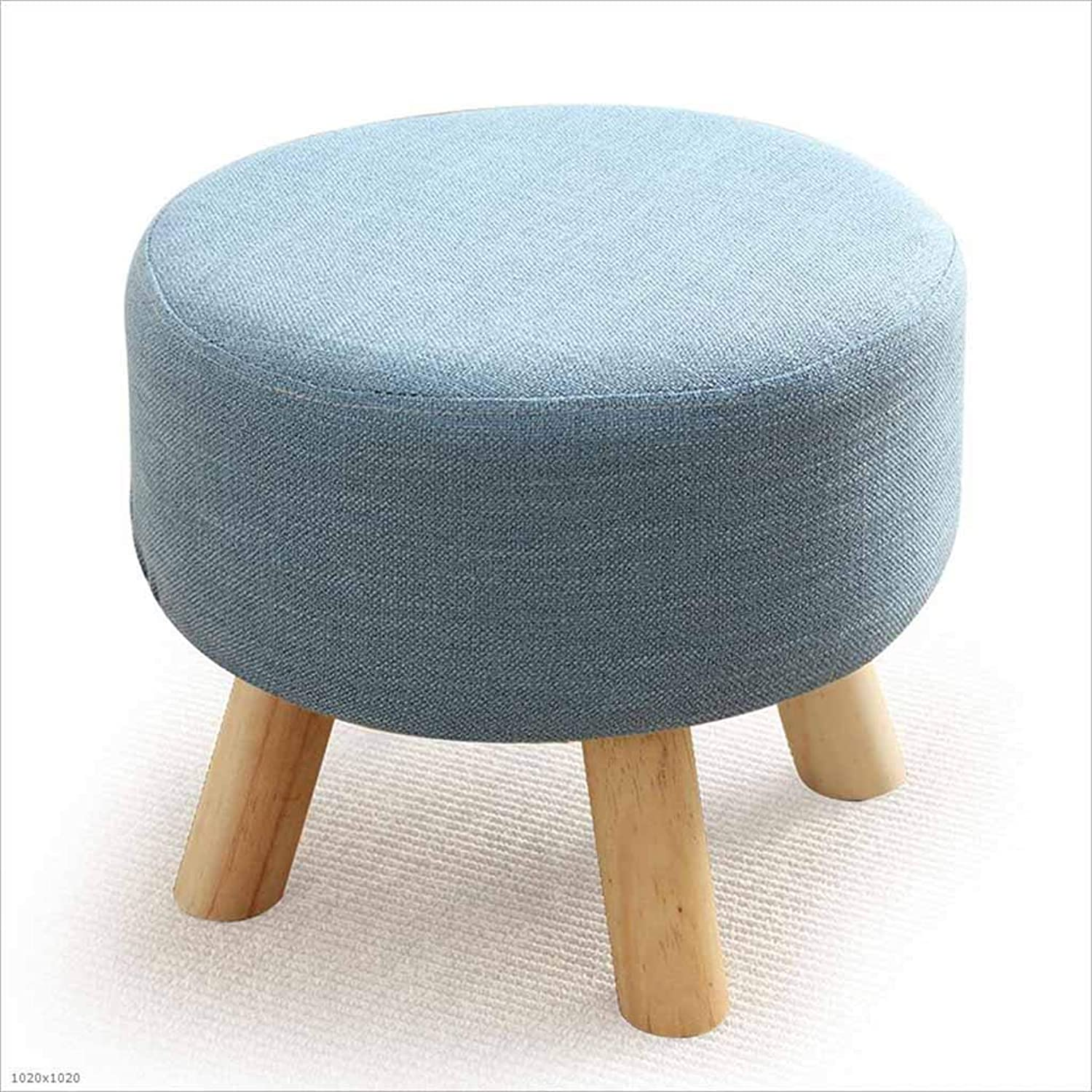 Sofa Stool Round Coffee Table Stool Adult Living Room Home Solid Wood Legs Change shoes Stool, 1