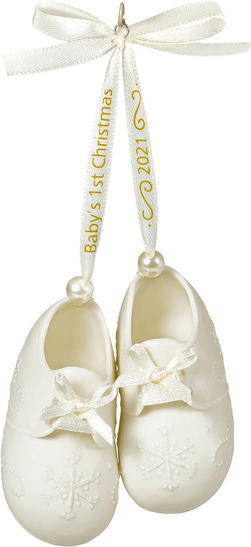 Hallmark Keepsake Christmas Ornament 2021 Year-Dated, Baby's First Christmas Booties, Porcelain