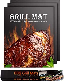 MAXBROTHERS Grill Mat 3 Pcs, 100% Non-Stick BBQ Mats, Easy to Clean, for Barbecue Grilling & Baking, Electric Grill Gas Ch...
