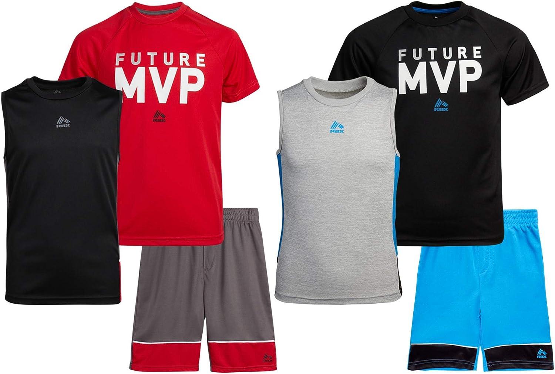 RBX Boys' Activewear Set – Short Sleeve T-Shirt, Tank Top, and Gym Shorts Performance Set (2 Pack)