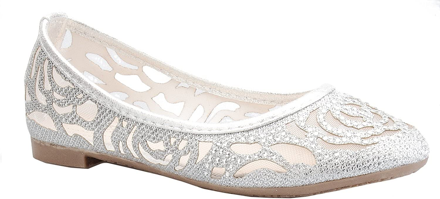 1 40% OFF Cheap Sale year warranty Olivia K Girl's Glitter and Mesh On Slip Detail Ballet Flats To