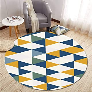 Round Rugs Thin and Light Carpet,for Living Room & Bedroom & Computer Chair & Coffee Table & Swivel Chair Non-Slip Short Hairs Mats (Size : 80CM),6