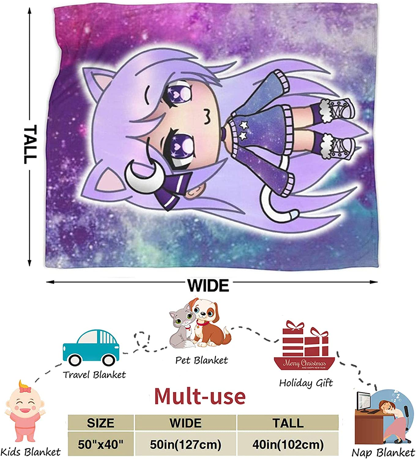 Inflyfure Gacha Life Game Ultra-Soft Micro Fleece Blanket Soft and Warm Digital Printed Blanket Flannel Throw Blanket 50X40
