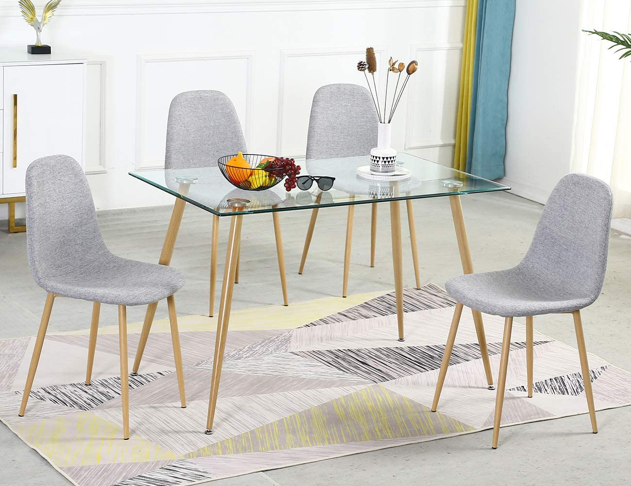 Bacyion Glass Dining Table Set for 9, Modern Kitchen Table and Chairs Set  for 9, Tempered Glass Dining Room Table Set and Velvet Dining Chairs, 9 ...