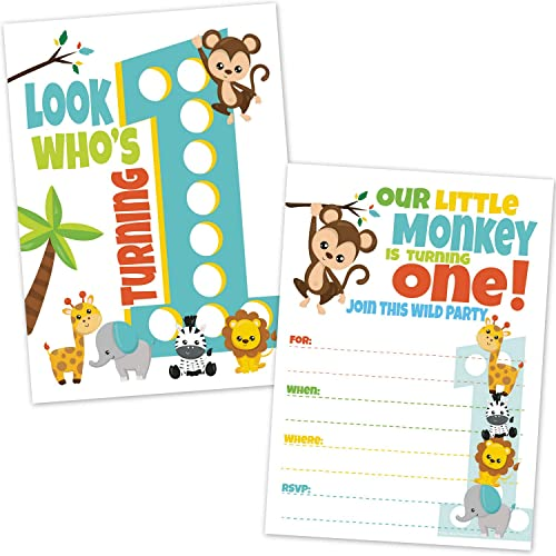 Safari Jungle Zoo Animals First Birthday Invitations