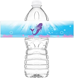 POP parties Mermaid Bottle Wraps - 20 Mermaid Water Bottle Labels - Mermaid Under The Sea Decorations - Made in The USA