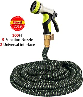 ZOMOM Expandable Garden Hose, Strongest Expanding Lightweight Water Hose with 9 Pattern Function Watering Nozzle (Green, 100FT)