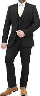 Cavani Mens 3 Piece Black Suits Blazers Trouser Waistcoats Party Designer Jacket
