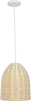 Elegant Designs PT1007-NAT Rattan Ceiling Light Pendant, Natural