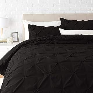 Amazon Basics Pinch Pleat Down-Alternative Comforter Bedding Set - Full / Queen, Black