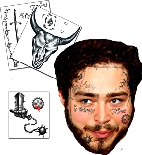 UPDATED 2020 Posty Malone Inspired Face/Neck Temporary Tattoos Set - New Tattoos Included - Skin Safe - Long Lasting