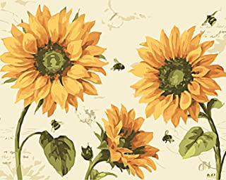 Paint by Numbers for Adults, Fuumuui Canvas Oil Painting Kit with Paintbrushes and Acrylic Pigment - Sunflowers and Bees 1...