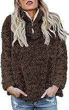 CILKOO Womens Cozy Oversize Fluffy Fleece Zip Up Sweatshirt Pullovers Outwear(S-XXL)
