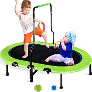 Merax Kids Trampoline with Handrail and Safety Cover, Mini Trampoline for Two Kids, Foldable No-Spring Band Rebounder