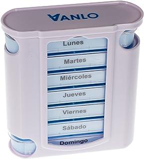 Pastillero en torre con divisiones por días de la semana y 4 compartimentos en cada una, en español