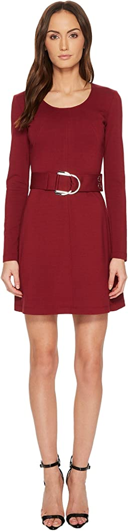 Versace Jeans - Long Sleeve Scoop Neck Belted Dress