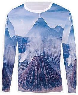MOOCOM Unisex Brown and Blue Sweatshirts Crewneck