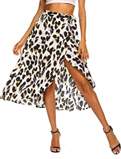 Women's Boho Leopard Skirt High Low Split Summer Beach Midi Wrap Skirts