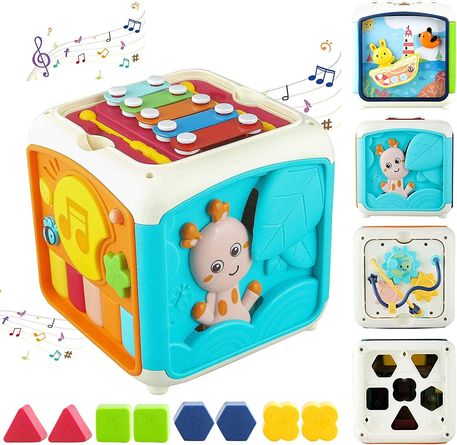 Tikooere Activity Cube Toy for 1 Year Old Gift, 7 in 1 Multi-Function Musical Toy 1-3,Educational Learning Musical Toy Gifts with Drum and Xylophone for Boys Girls Toddlers Kids 1 2 3 Years Old(Blue)