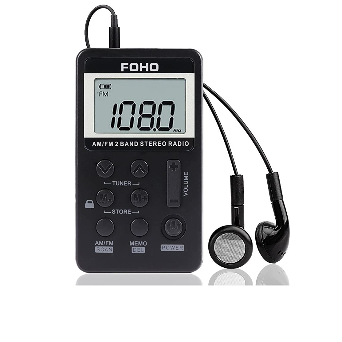 AM FM Pocket Radio, Foho Pocket Portable Digital Tuning AM/FM Stereo Radio with Rechargeable Battery and Earphone for Walk/Jogging/Gym/Camping