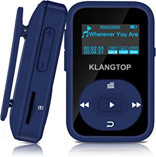 MP3 Player 8GB Bluetooth KLANTOP Digital Clip Music Player with FM Radio Voice Record Function Special Design for Sport and Music Lovers (Blue)