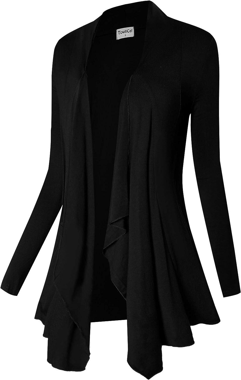 TownCat Cardigans for Women, Soft Drape Front Open Womens Cardigans, Lightweight Long Sleeve Cardigan Irregular Hem
