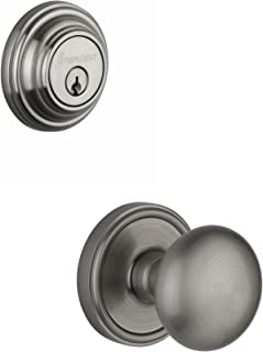 Grandeur Georgetown Rosette with Fifth Avenue Knob and Matching Deadbolt Complete Single Cylinder Combo Pack Set, Satin Ni...