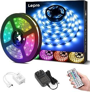 Lepro LEDテープライト RGB ledテープライト 5m 屋内用 明るさ調節 鮮やか 20色タイプ 44キーリモコン 調光調色 カラーDIY SMD5050 超高輝度 間接照明 両面テープ 切断可能 取付簡単 店舗 看板 ゲーム室 ホー...