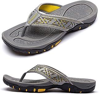 CELANDA Mens Beach Walking Flip Flops Arch Support Thong Sandals Indoor Bathroom Shower Slippers Outdoor Open Toe Non Slip...