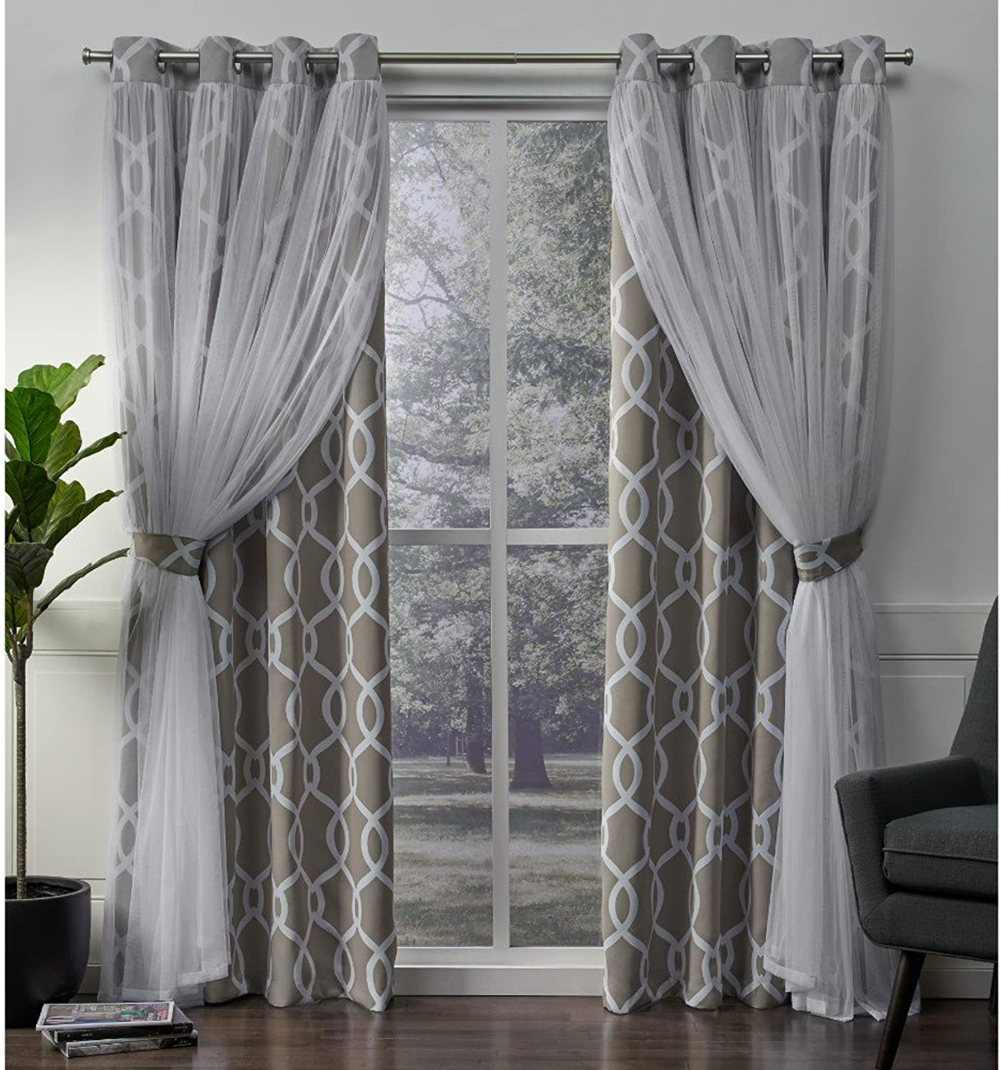 Exclusive Home Curtains Carmela Layered Geometric Blackout and Sheer Window Curtain Panel Pair with Grommet Top, 52x84, Natural, 2 Piece