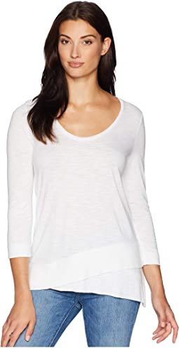 3/4 Sleeve Ribbed Bottom Tee