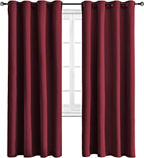 WONTEX Blackout Curtains Thermal Insulated with Grommet Curtains for Bedroom, 52 x 84 inch, Burgundy, 2 Panels