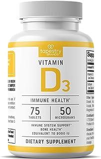 Vitamin D3 2,000 IU - Support Immune System Health, Promote Strong Bones. Non-GMO, Gluten Free, Lactose Free. 75 Count - 5...