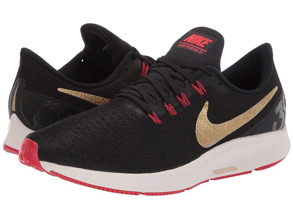 Nike Air Zoom Pegasus 35 (Black/Metallic Gold/University Red) Men