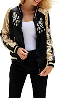 Simplee Women's Casual Floral Embroidery Reversible Satin Bomber Jacket