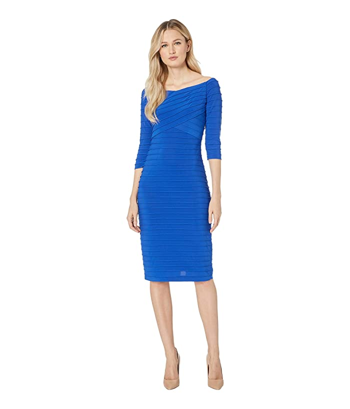 Adrianna Papell Banded Pintuck Dress (Moroccan Blue) Women