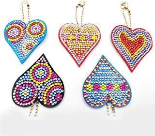 Injoyser DIY Key Chain Set Full Drill Diamond Painting Kits for Adults, Kids Bag Accessories, Charm, PendantBackpack Heart-Shaped 5 Pcs by INJOYS