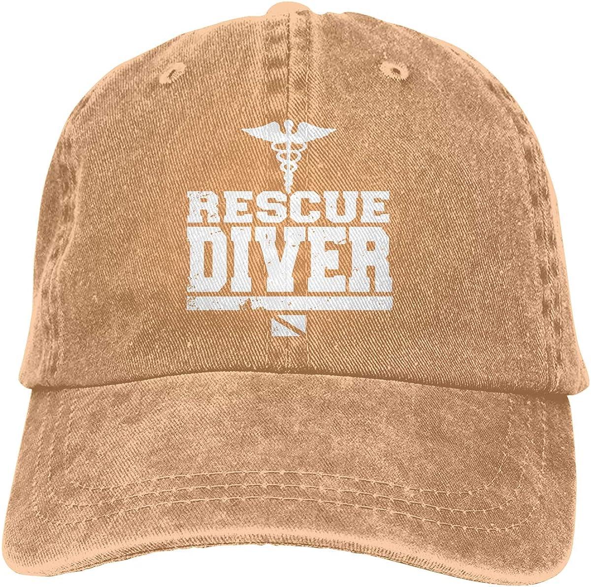 Rescue Diver Retro Denim Baseball Hat Trucker Hat Dad Hat Adjustable