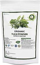 R V Essential Organic Tulsi Powder 200gm/ 7.05oz/ 0.44lb- Ocimum Sanctum Tulsi Leaf Powder Holy Basil Powder USDA Organic Certified Ayurvedic Supplement in Resealable and Reusable Zip Lock Pouch