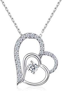 Mother Daughter Necklace for Women 925 Sterling Silver...
