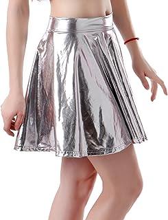 bd63dde85e258 HDE Plus Size Shiny Liquid Skater Skirt Flared Metallic Wet Look Pleated  Skirt