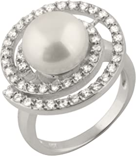 Bella Pearls Freshwater Pearl and Cubic Zirconia Spiral Sterling Silver Ring