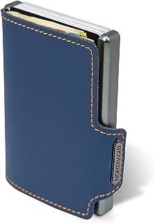 Monedero para billetes Mondraghi® Saffiano con protección RFID integrada, marco de aluminio, mini cartera de piel