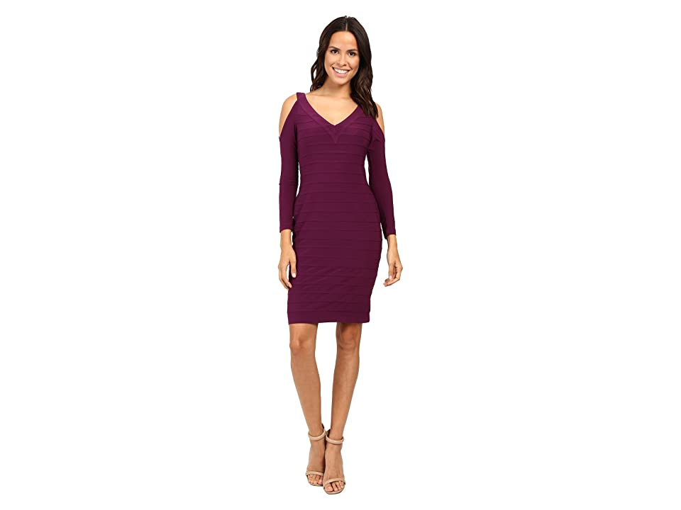 Adrianna Papell Partially Lined Matte Jersey Banded Sheath Dress (Winter Blackberry) Women