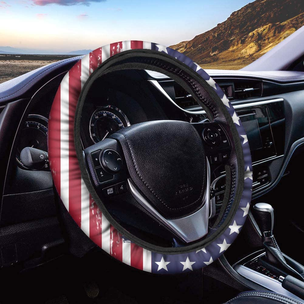 TOADDMOS American Flag Print Car Wheel Max 47% OFF Max 49% OFF Steering Protector Cover