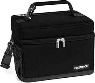 MAZFORCE LongHaul Lunch Box Insulated Lunch Bag - Spacious Pro Performance Adult Lunchbox Built to Withstand your Daily Grind (Lunch Bags Designed in California for Men, Adults, Women - Ultra Black)