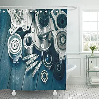Semtomn Shower Curtain Spare White Auto Various Car Parts Automotive Service Mechanic Shower Curtains Sets with 12 Hooks 72 x 78 Inches Waterproof Polyester Fabric