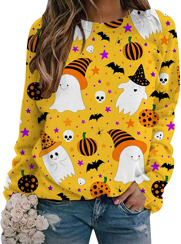 Haheyrte Crewneck Sweatshirts Womens Halloween Print Shirt Long Sleeve Sweatshirts Loose Pullover Top Blouse Tee Sweaters